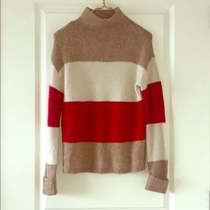 Tan white and red thick striped turtleneck sweater